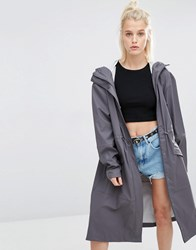 Rains Noon Synch Waist Long Jacket Smoke Grey
