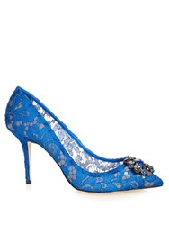 Dolce And Gabbana Crystal Embellished Lace Pumps Blue
