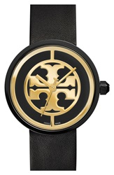 Tory Burch 'Reva' Logo Dial Leather Strap Watch 36Mm Black Gold