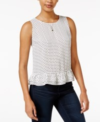 Maison Jules Ruffle Hem Top Only At Macy's Washed White Combo