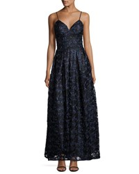 Nicole Miller New York Soutache Spaghetti Strap Fit And Flare Gown Navy