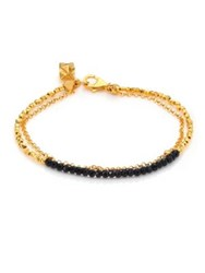 Astley Clarke Biography Black Spinel Beaded Friendship Bracelet Gold Black
