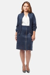 Mynt 1792 Perforated Faux Suede Bomber Jacket Plus Size Blue