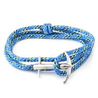 Anchor And Crew Admiral Rope And Silver Bracelet Solid Blue