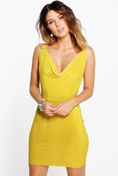 Boohoo Cowl Neck Cross Back Bodycon Dress Chartreuse