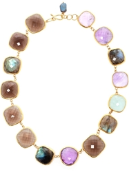 Ram Amethyst Aquamarine Labradorite And Smoky Quartz Necklace Multicolour