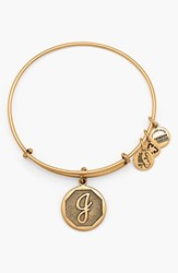 Women's Alex And Ani 'Initial' Adjustable Wire Bangle J Russian Gold