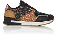 Givenchy Men's Floral Print Leather And Mesh Sneakers Black