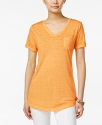 Styleandco. Style And Co. V Neck Burnout Pocket Tee Only At Macy's Honey Glaze