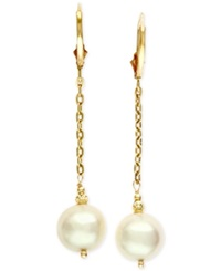 Effy Collection Effy Cultured Freshwater Pearl 9 1 2Mm Chain Dangle Earrings In 14K Gold White