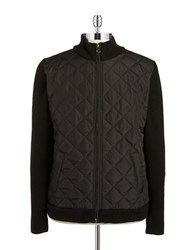 7 Diamonds Quilted Knit Zip Up Black