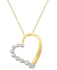 Macy's Diamond Journey Heart Pendant Necklace In 10K White Or Yellow Gold 1 10 Ct. T.W.