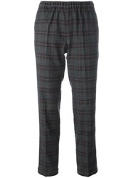 Alberto Biani Plaid Cropped Trousers Grey