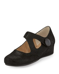 Neiman Marcus Matron Glossy Leather Mary Jane Wedge Black