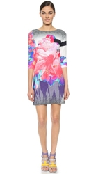 Prabal Gurung Boat Neck 3 4 Sleeve Shift Dress Bright Pink