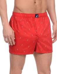 Nautica Anchor Printed Cotton Boxers Red