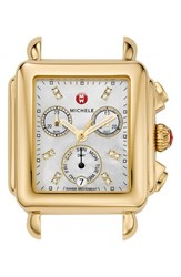 Michele Women's 'Deco' Diamond Dial Gold Plated Watch Case 33Mm X 35Mm Gold