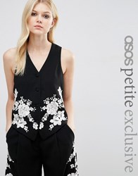 Asos Petite Co Ord Luxe Tux Waistcoat With Pretty Floral Embroidery Black