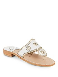 Jack Rogers Whipstich Leather Thong Slide Sandals White Gold