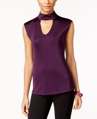 Inc International Concepts Mock Neck Cutout Top Only At Macy's Purple Paradise