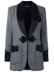 Dolce And Gabbana Houndstooth Classic Blazer Black