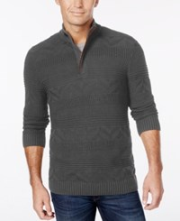 Tasso Elba Men's Quarter Zip Mixed Stitch Sweater Only At Macy's Charcoal Heather
