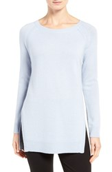 Nordstrom Women's Collection Side Slit Cashmere Sweater Blue Feather