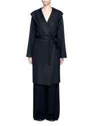 The Row 'Marney' Belted Virgin Wool Blend Coat Black