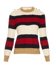 Gucci Striped Wool Knit Sweater Navy Multi