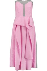 Roksanda Ilincic Orbeli Strapless Striped Silk Blend Midi Dress Magenta