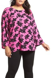 Vince Camuto Plus Size Women's Small Fresco Blooms Bell Sleeve Blouse Pop Pink