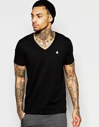 Asos T Shirt With V Neck And Embroidery In Black Black