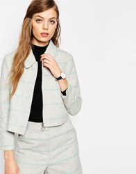 Asos Retro Boxy Jacket In Wool Check Co Ord Greyblue