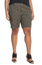 Plus Size Women's Sejour 'Addison' Stretch Twill Bermuda Shorts Olive Tuscan Woods Geo Prt