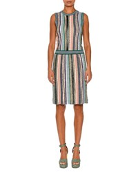 Missoni Sleeveless Stripe Knit Dress Green Multi