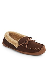 Saks Fifth Avenue Roll Collar Micro Suede Slippers Brown