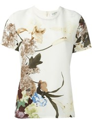 Valentino Floral Print T Shirt Nude And Neutrals