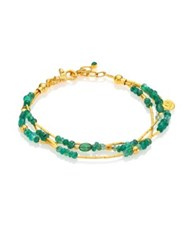 Gurhan Delicate Rain Emerald And 24K Yellow Gold Triple Strand Bracelet Gold Emerald