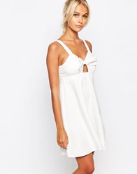 Fashion Union Cami Babydoll Dress With Bow Front White