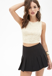 Forever 21 Glitter Paisley Crop Top Cream Gold