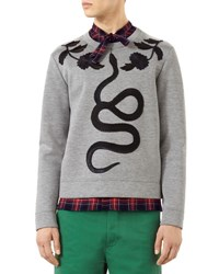 Gucci Cotton Sweatshirt With Embroidered Snake Gray