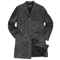 Forzieri Men's Black Italian Genuine Leather Coat