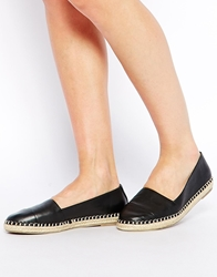 Aldo Oleawiel Black Leather Espadrille Flat Shoes Blackleather