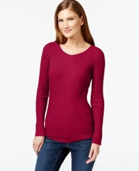 Inc International Concepts Ribbed Crew Neck Sweater Only At Macy's Real Red