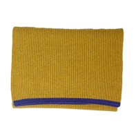 40 Colori Mustard Petrol Blue Small Ribbed Wool And Cashmere Scarf Yellow Orange