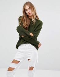 Missguided Cut Out Elbow Jumper Olive Green
