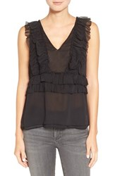 Willow And Clay Women's Ruffle Chiffon Tank Black