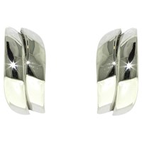 Finesse Rhodium Wave Stud Earrings Silver