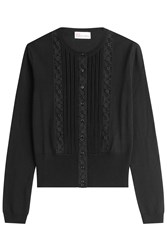 Red Valentino Wool Cardigan With Lace Paneling Black
