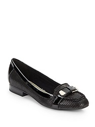 Anne Klein Houndstooth Leather Flats Black